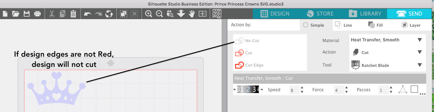 in Send Panel SVG ghosted, will not cut