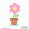 Potted Spring Flower Free SVG File