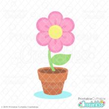 Potted Spring Flower Free SVG File