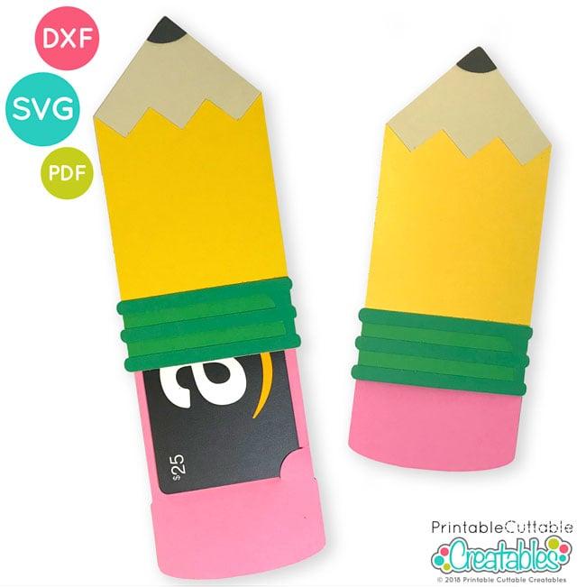 365dcf1e34a00 Pencil Gift Card Holder SVG File for Silhouette & Cricut