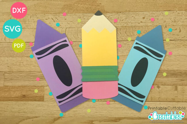 Crayon and Pencil Gift Card Holder SVG cut files