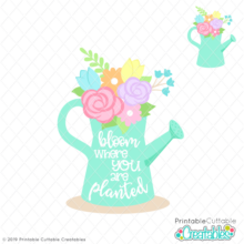 E453 Bloom Watering Can SVG File preview