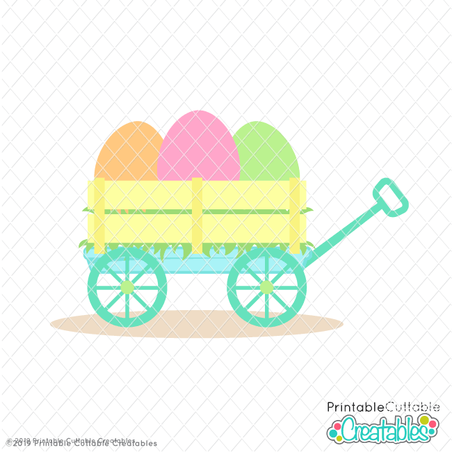 Easter Eggs Wagon Free SVG File