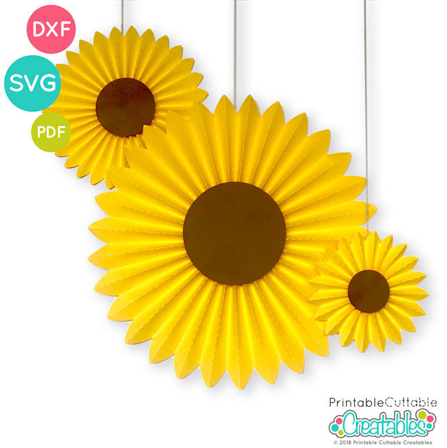 Sunflower Paper Medallion Free SVG File Template
