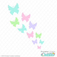 Flying Butterflies Free SVG File