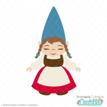 Girl Garden Gnome SVG Cut File & Clipart