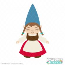 Girl Garden Gnome SVG Cut File & Clipart