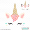Ice Cream Unicorn Face FREE SVG File