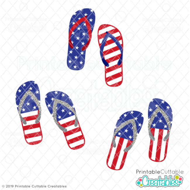 E467FB US Flag Patriotic Flip Flops Free SVG Files previewf