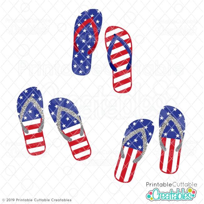 image about Printable Us Flag named US Flag Switch Flops Absolutely free SVG Data files Clipart for Cricut
