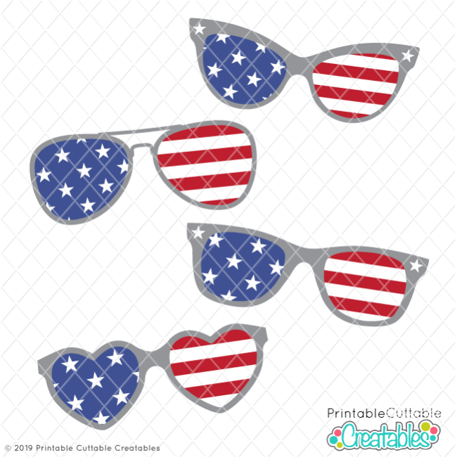 Free 4th of July Sunglasses SVG Files
