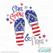 Stars, Stripes, & Flops SVG file for Cricut and Silhouette