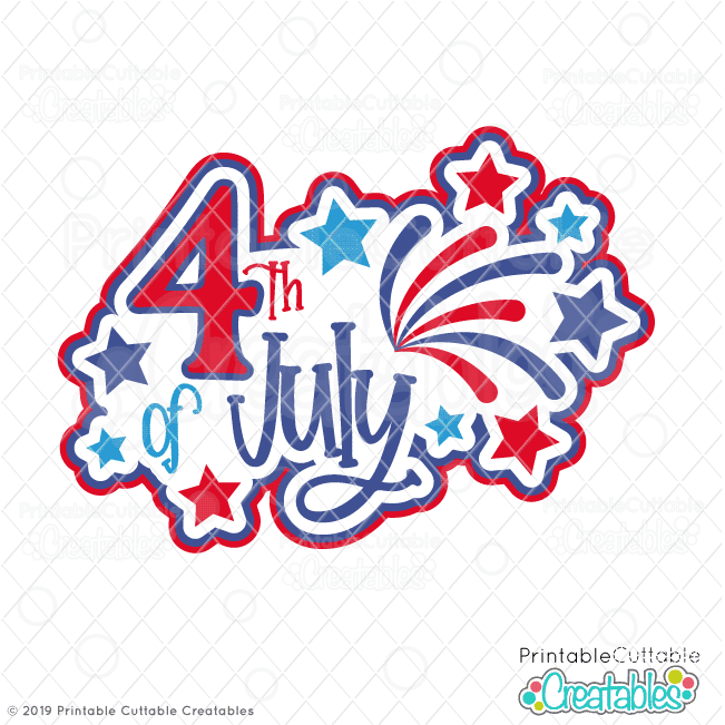 4th Of July Title Svg File Clipart For Cricut Silhouette