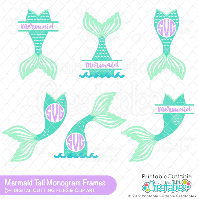 photo about Mermaid Tail Printable referred to as Mermaid Tail Monogram SVG Body Package deal for Cricut Silhouette