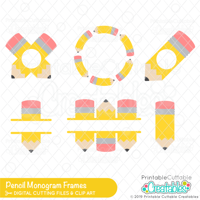 Pencil Monogram Frames SVG Files