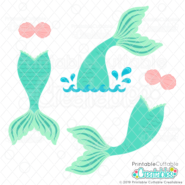 E477 Mermaid Tails SVG File preview