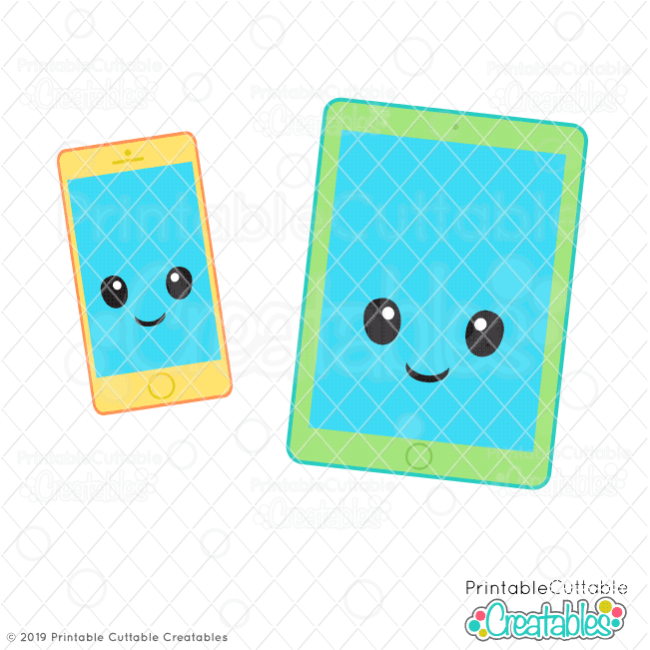 Cute Tablet & Cell Phone SVG Files