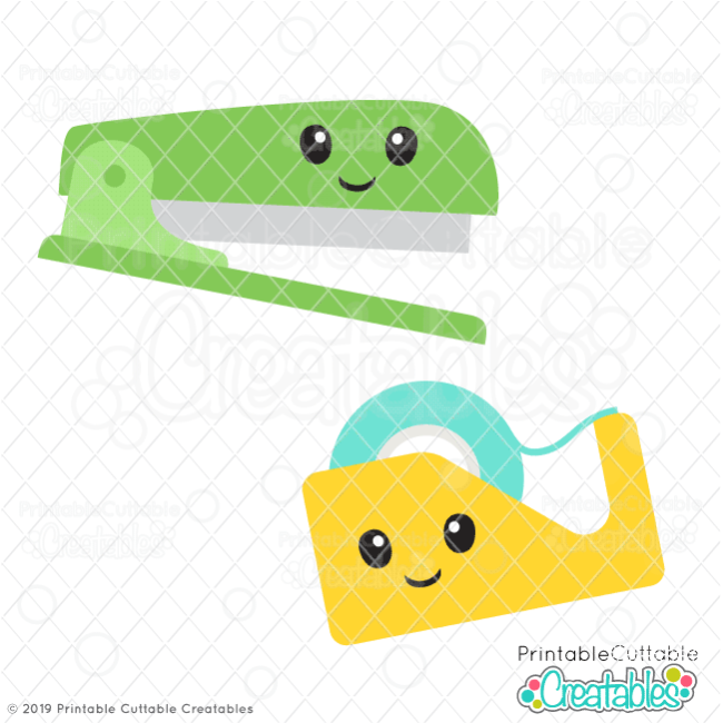 Cute Stapler & Tape SVG File
