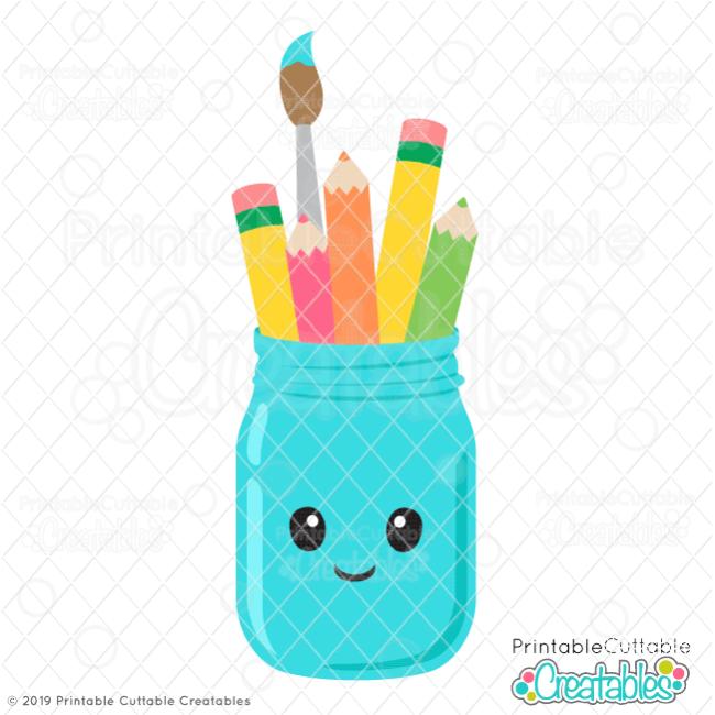 Cute Pencil Jar Free SVG File