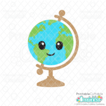 Cute Globe SVG Cut File