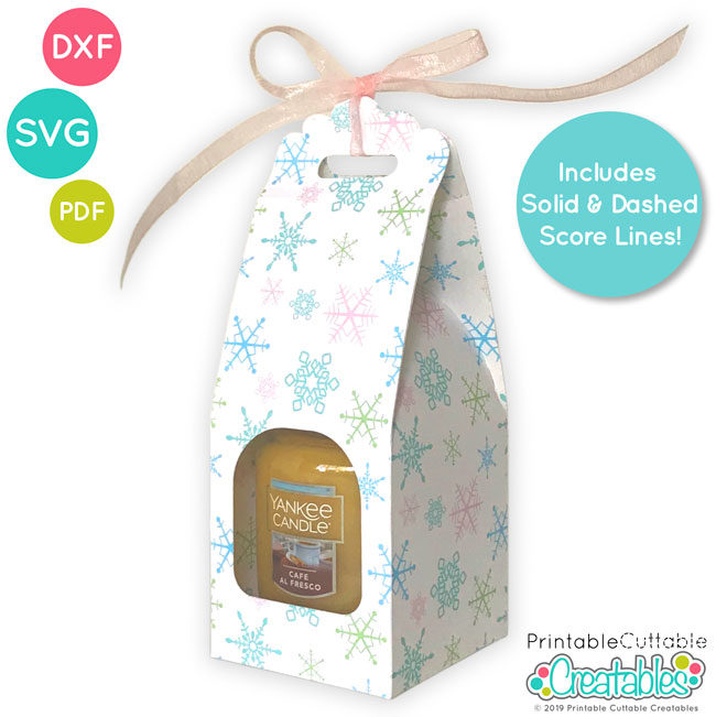 Small Jar Candle Gift Box SVG Template File