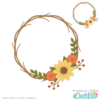Autumn Flower Wreath Monogram Frame SVG File