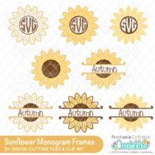 Sunflower Monogram Frames Free SVG Files