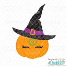 Eyelash Pumpkin in Witch Hat SVG File