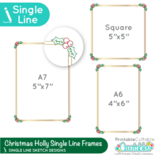 FRESingle Line Swirls Frames Free SVGE Foil Quill / Single Line SVG - Christmas Holly Frames