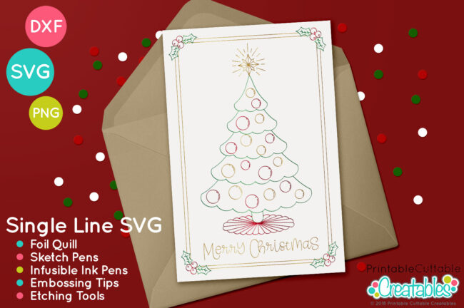 FREE Foil Quill / Single Line SVG - Christmas Holly Frames project idea