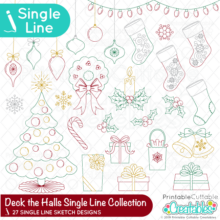 Deck the Halls Single Line SVG File Christmas Collection