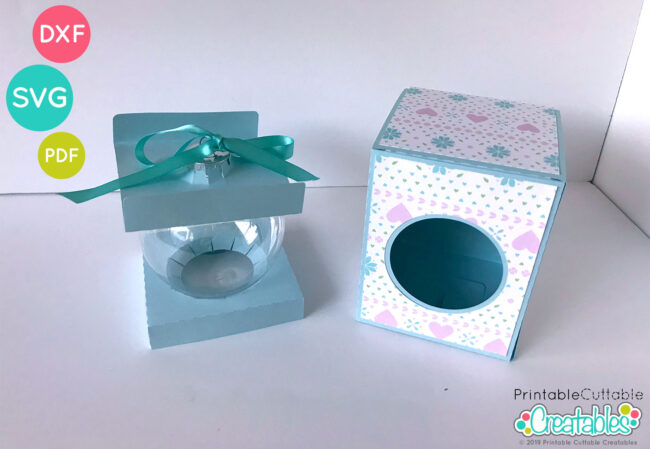 Round Ball Ornament Box 4 inch SVG File