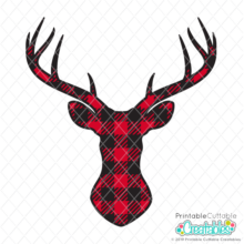 Buffalo Plaid Deer Head FREE SVG File