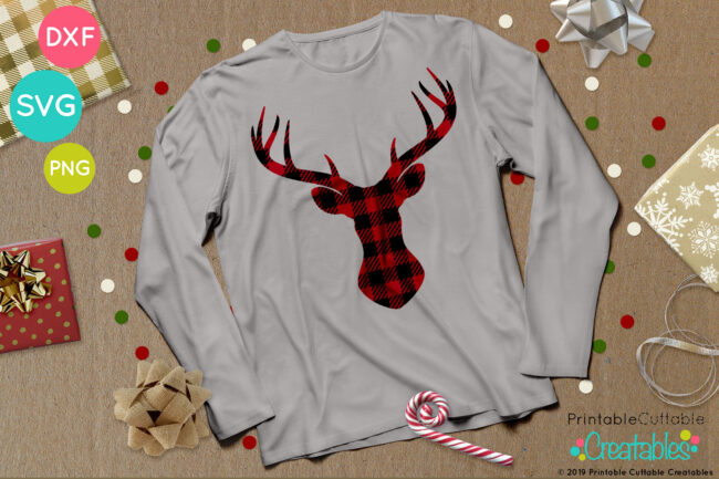 Free Buffalo Plaid Deer Head SVG File project idea