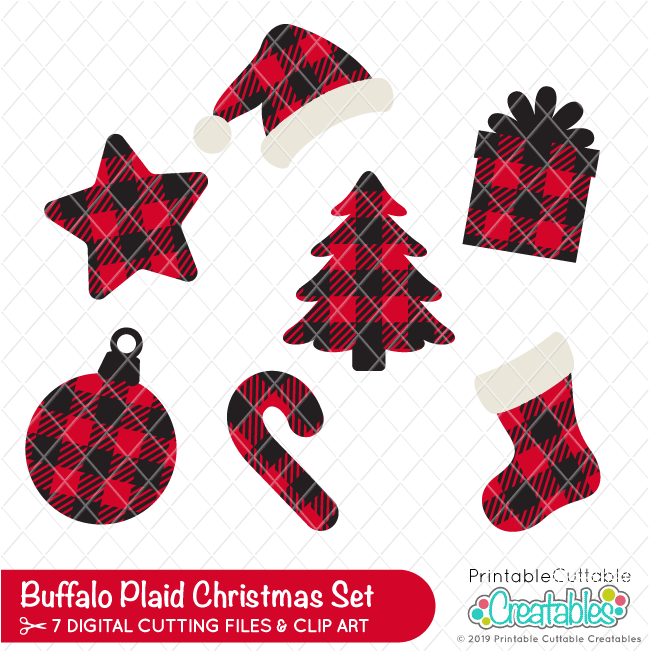 Buffalo Plaid Christmas FREE SVG Set