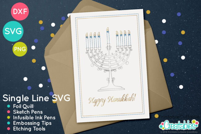 Chanukah Menorah Single Line SVG Sketch File