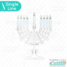 Hanukkah Menorah Foil Quill / Single Line SVG