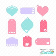 Valentine Hearts Gift Tags Free SVG Files