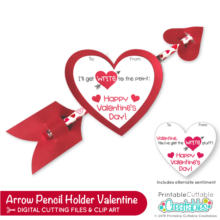 Cupid Arrow Pencil Holder Valentine Free SVG File