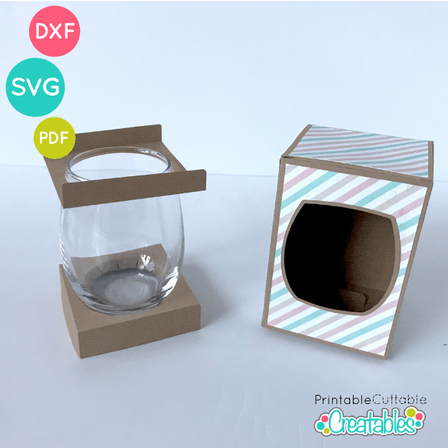 9 oz. Stemless Wine Glass Box SVG File