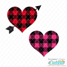 Buffalo Plaid Hearts Free SVG Files