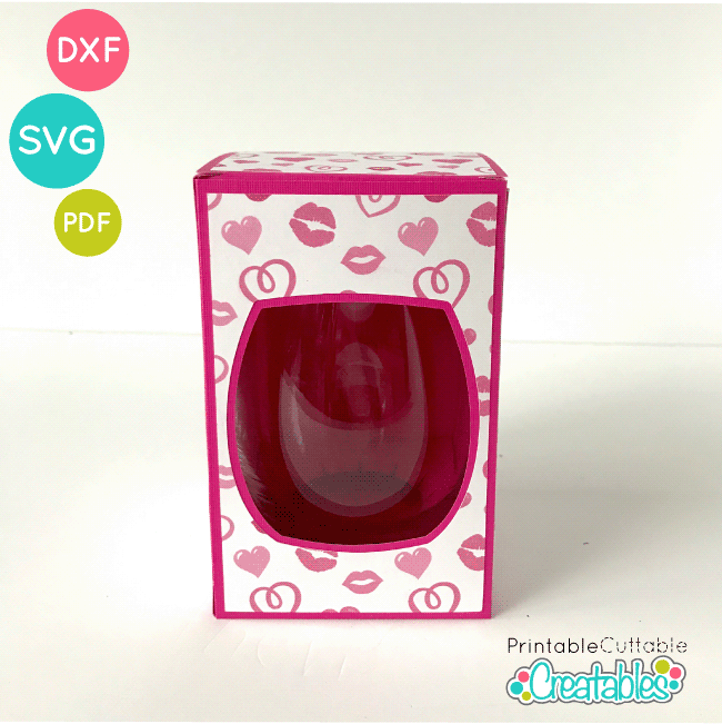 Large Stemless Wine Glass Gift Box SVG File