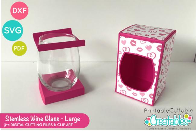 20 oz - 21 oz Stemless Wine Glass Box SVG File Template