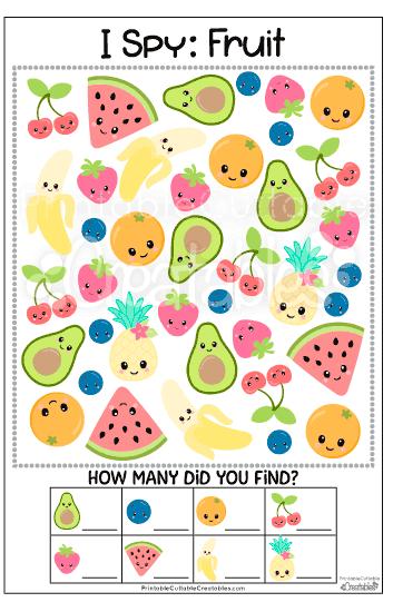 Free Printable Fruit I Spy Game