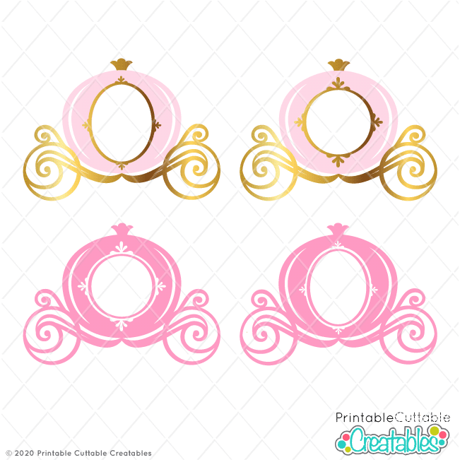 Princess Carriage Monogram Frame SVG File