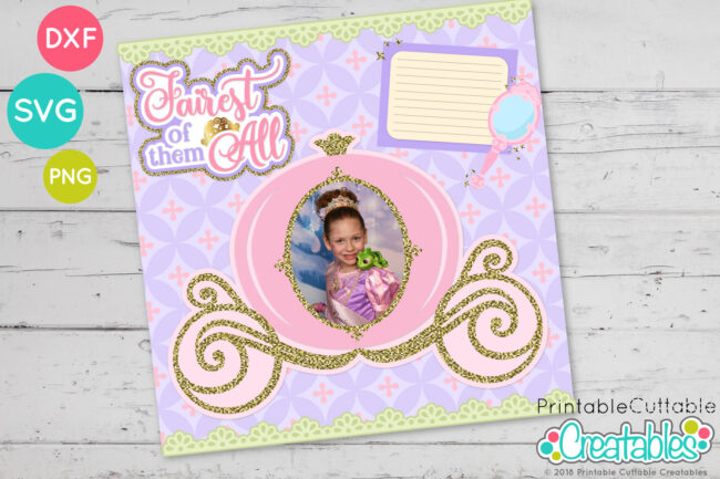 Cinderella Princess Carriage Photo Frame SVG File for Scrapbooking