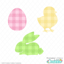 Gingham Plaid Easter Shapes FREE SVG Files