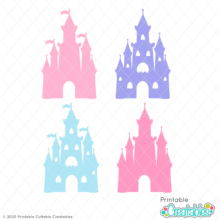Princess Castle Silhouette SVG Cut Files