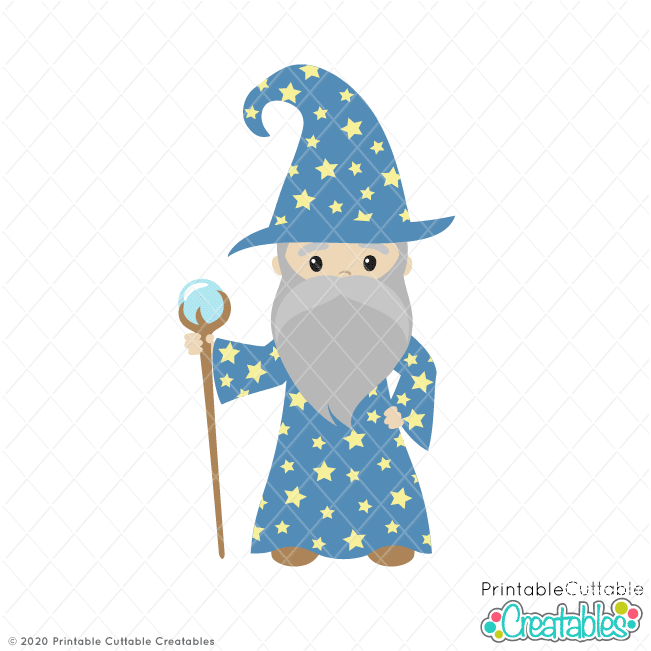 Cute Magical Wizard SVG File