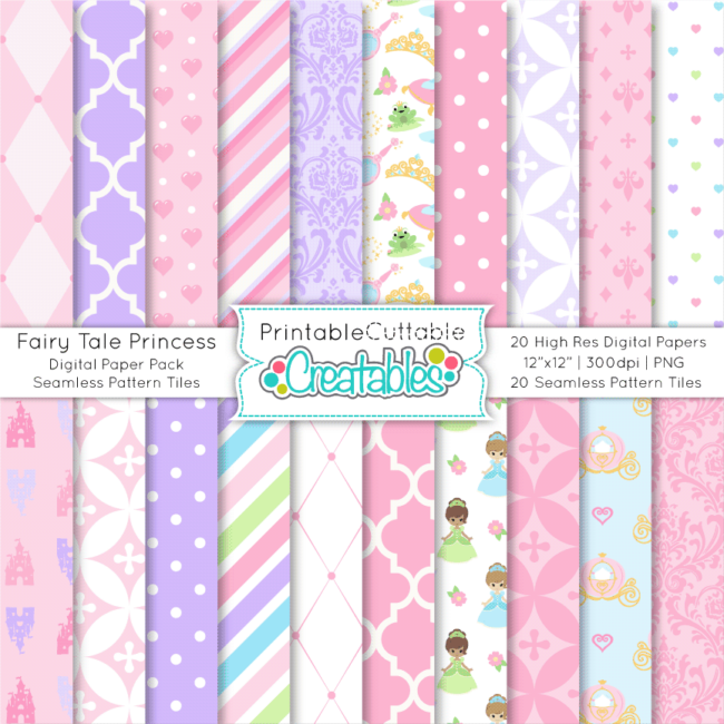 Fairy Tale Princess Digital Paper Pack Seamless Patterns